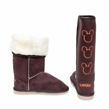 Womens Girls Ladies Slippers Boots Suede Calf Fluffy Faux Fur Cosy Warm UK Size