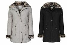Womens Jacket Winter Padded Coat Quilted Hem Buttoned Collar Zipped Fur UK 10-20