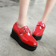 Womens Punk Buckle Patent Leather Shoes Platform Wedge Creepers Casual Shoes