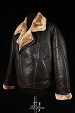 FLYING GINGER Mens Aviator Real Shearling Sheepskin Leather Bomber Winter Jacket