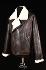 FLYING BROWN Mens Aviator Real Shearling Sheepskin Leather Bomber Winter Jacket