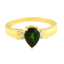 Chrome Diopside Genuine Gemstone & Diamond Ring In 10 Kt Yellow Gold