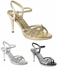 Ladies Stylish Evening Sandals High Heel Diamante Wedding Prom Party Shoes Size