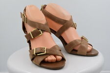 Jessica Simpson Womens Tan Strappy Pumps Sz 7.5/37.5 Leather Heels Shoes