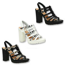 WOMENS STRAPPY GLADIATOR PLATFORM BLOCK HEEL CHUNKY SOLE SHOES SANDALS SIZE 2-7