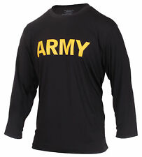 ARMY Black Long Sleeve Physical Training Military Mens T-Shirt Rothco 56020