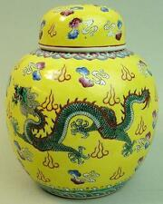 ANTIQUE CHINESE REPUBLIC PERIOD IMPERIAL YELLOW PORCELAIN GINGER JAR