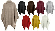 NEW WOMENS BASKET KNIT POLO COWL NECK KNITTED PONCHO CAPE JUMPER 8-16