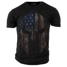 American Spartan T-Shirt- Grunt Style Military Men's Black Tee Shirt