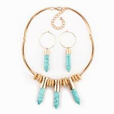 gold charm chain spike pendant choker statement earrings set necklace for women