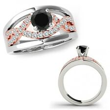 0.50 Ct Black Diamond Halo Engagement Fancy Infinity Ring Band 14K Rose Two Gold
