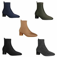 Womens Ladies Lycra Stretch Low Block Heel Shimmer Ankle Boots Shoes Size 3-8