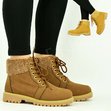 NEW WOMENS ANKLE BOOTS LADIES QUILTED HIKING DESERT SNOW WINTER FUR SHOES SIZE