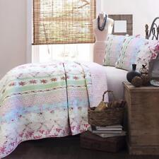 Beautiful Cottage Chic Shabby Roses Floral Pink Blue Green 100% Cotton Quilt Set