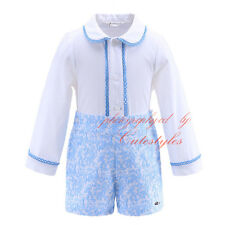 Baby Boys Long Sleeve Shirt + Blue Shorts Set Kids Clothes Party suit Outfit NEW