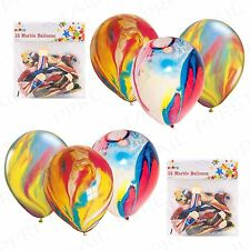 30 PCS RAINBOW PARTY BALLOONS FUNKY COLOURED MARBLE EFFECT DECORATION BIRTHDAY