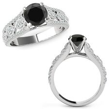 1 Ct Black Diamond Lovely Solitaire Halo Anniversary Ring Band 14K White Gold