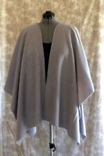 "Fleece Ruana Shawl Wrap 50"" X 65"" Onesize Edge Topstitched Glaciar Gray 5 Color"