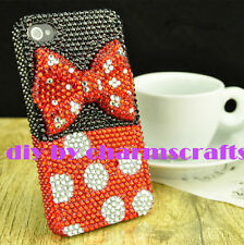 For Mobile Phone Sparkly Cute Red Bow Rhinestones Bling Diamonds Hard Cover Case