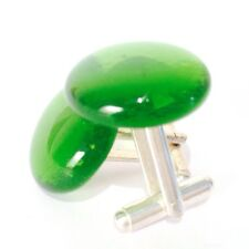 Green Glass Cufflinks. Silver or Gold Cufflinks with Hand-Made Glass Cabochon.