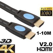 1-10M HDMI V2.0 4K 30AWG HD 18Gbps 3D Audio Return Ethernet HDMI FLAT Cable New