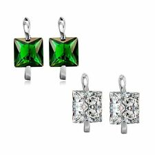 Korean White Gold Filled Quartet Green Rhinestone Crystal Hoop Earrings Earings