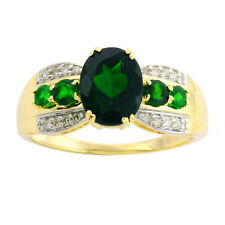 Chrome Diopside 1.80 Ct Carat Natural Gemstone Diamond Ring In 9kt Yellow Gold