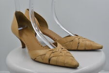 Gianni Bini Womens Tan D'orsay Pumps Sz 9M Woven Leather Heels Shoes