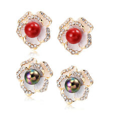 Vintage Flower Lucky Rainbow Pearl Crystal Earings Clip On Earrings Womens