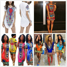 Summer Women's Traditional African Print Hippie Tops Casual Clubwear Mini Dress