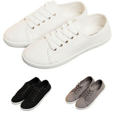 Women Girls Canvas Lace Up Casual Sneakers Tennis Flats Plimsoll Shoes Lovely AU