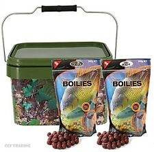 Carp Fishing Boilies 1KG of 15mm in 5L Square Bait Bucket,Krill Strawberry NGT