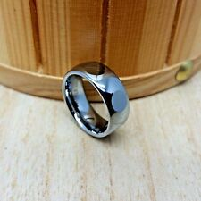 8mm wide Tungsten Carbide ROUND FACET Cut Dome Wedding Band Ring