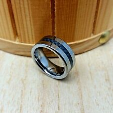 8mm wide Tungsten Carbide CARBON FIBER GROOVE Inlay Cut Dome Wedding Band Ring