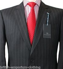 BNWT Chester Barrie SAVILE ROW Charcoal Grey Striped Suit UK42 CB Suit Carrier