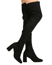 New Women Speed Limit 98 Billy-H Faux Suede Thigh High Cupped Heel Boot