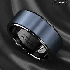 Black Tungsten Carbide Ring sea Blue Brushed center wedding Ring Mens Jewelry