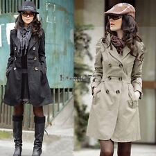 Women's Slim Fit Trench Charm Double-breasted Coat Fashion Jacket EA77