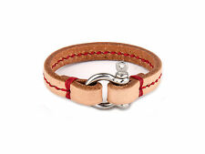 Brown Leather Cord Bracelet With Red Stripe And Stainless Steel Lock