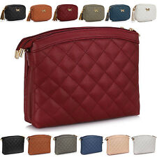 Ladies Quilted Faux Leather Women Shoulder Bag Cross Body Messenger Girl Handbag
