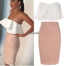 Sexy Women Fashion Strapless Tops Tube Ruffled+ Skirt Slim Party Two Pieces EA77