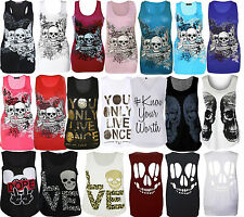 womens ladies graphic print sleeveless vest tank top summer t shirt size 8-14