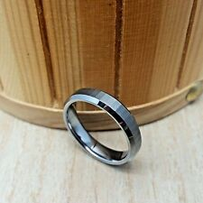 6mm wide Tungsten Carbide BEVELED FACET BRUSH center Wedding Band Ring