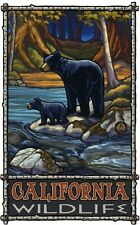 Northwest Art Mall California Wildlife Bear and Cub in Stream Painting by Paul A