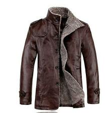 Hot Mens jacket trench coat Casual faux leather warm lined outwear peacoat parka
