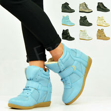 New Womens Ladies Wedge Trainers High Top Mid Heel Platform Sneakers Ankle Boots