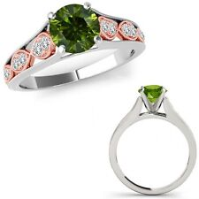 1 Ct Green Diamond Filigree Solitaire Anniversary Ring Band 14K Rose Two Gold
