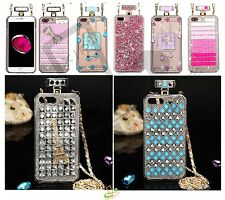 For Apple iPhone 7 Plus 7 Bling 3D Crystal Diamonds Clear Hard Case Cover Chain