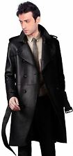Brand New Men's Genuine Real Soft Lambskin Leather Trench Coat Long Jacket TR01