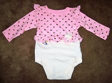 BABY ONESIE WITH PINK RUFFLED TOP WITH HEARTS GARANIMALS ASSORTED SIZES NWT